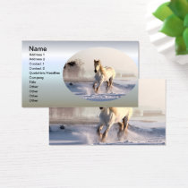 White Horse Galloping Through the Winter Snow Business Card