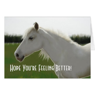 White Horse Get Well Blank Card