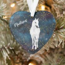 White Horse Gold Stars Daughter Ornament