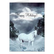 White horse Happy Holidays Card
