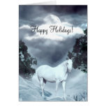 White horse Happy Holidays Greeting Cards