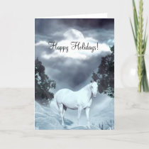 White horse Happy Holidays Holiday Card