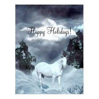 White horse Happy Holidays Postcard
