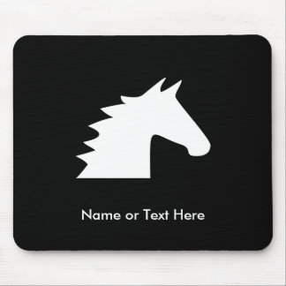 White Horse Head Mouse Pad