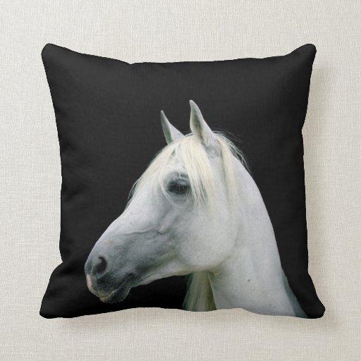 white horse head on black pillow cushion zazzle