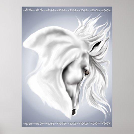 White Horse Head Print