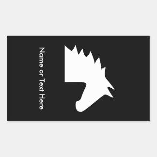 White Horse Head Rectangular Sticker