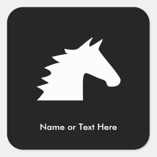 White Horse Head Square Sticker