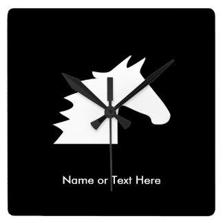 White Horse Head Square Wall Clock