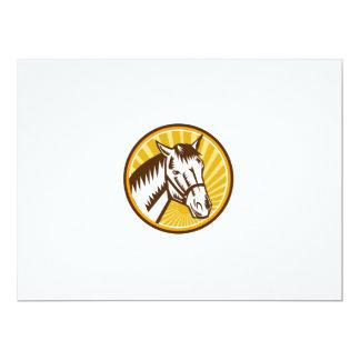 White Horse Head Sunburst Circle Woodcut Card