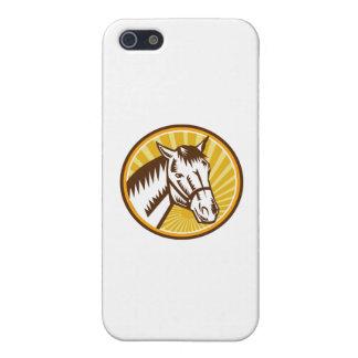 White Horse Head Sunburst Circle Woodcut Case For iPhone SE/5/5s