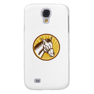 White Horse Head Sunburst Circle Woodcut Galaxy S4 Case
