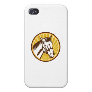 White Horse Head Sunburst Circle Woodcut iPhone 4/4S Case