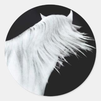 White Horse Head Three Panels Classic Round Sticker