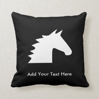 White Horse Head Throw Pillow