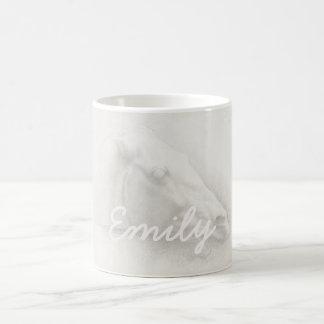 White Horse Head Vintage Portrait Drawing Name Coffee Mug