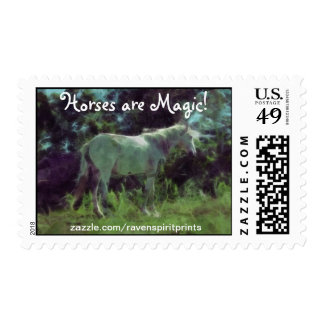 White Horse in a Field Impressionist Art Postage
