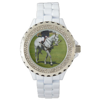 White Horse In Dressage Competition, Wrist Watch