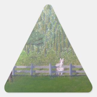 White Horse in Field Triangle Sticker