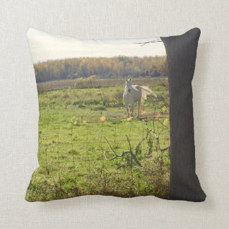 White Horse in Green Pasture Color & Sepia side Throw Pillow