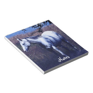 White Horse in Moonlight Equine-lover's Notepad
