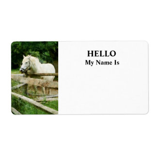 White Horse in Paddock Label