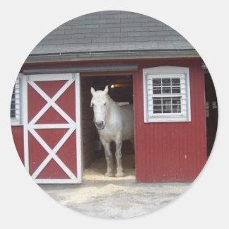 White Horse In Red Barn Classic Round Sticker
