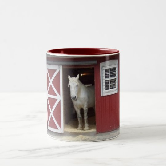 White Horse In Red Barn Two-Tone Coffee Mug