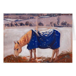 White Horse in the Snow Card