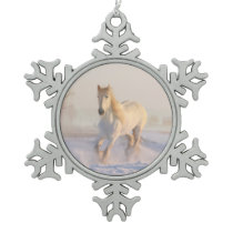White Horse in the Snow Snowflake Pewter Christmas Ornament