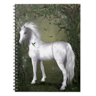 White Horse in the Woods with Hummingbirds Notebook