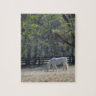 White Horse in trees Jigsaw Puzzle