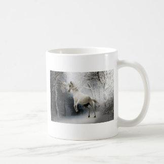 White Horse in Winter Coffee Mug