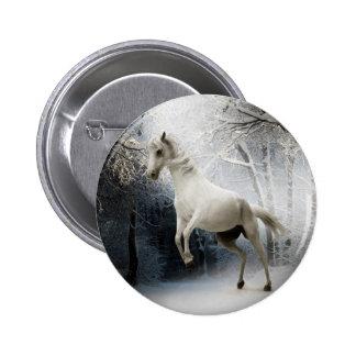 White Horse in Winter Pinback Button