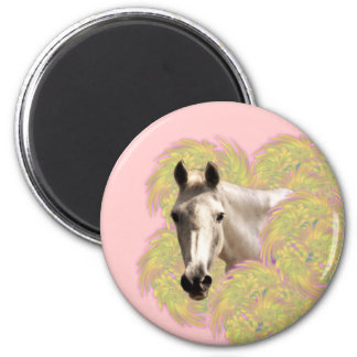 White Horse in Yellow Flowers on Pink 2 Inch Round Magnet