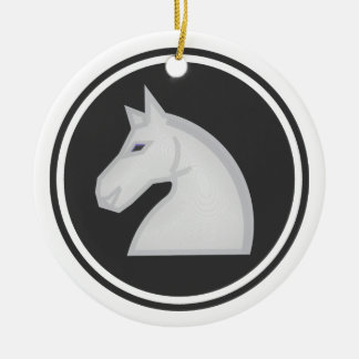 White Horse Knight Chess Ceramic Ornament