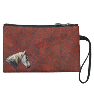 White Horse Logo Leather-look Equine Design Wristlet Purse