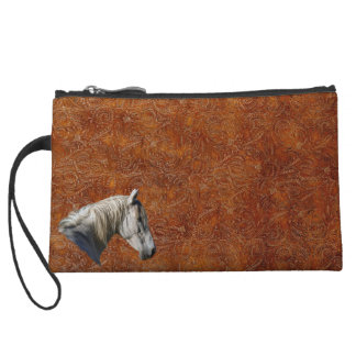 White Horse Logo Leather-look Equine Design Wristlet Purses
