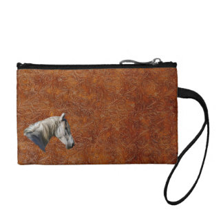 White Horse Logo Leather-look Equine Design Coin Wallet