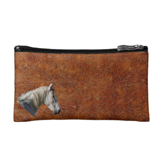 White Horse Logo Leather-look Equine Design Cosmetic Bag