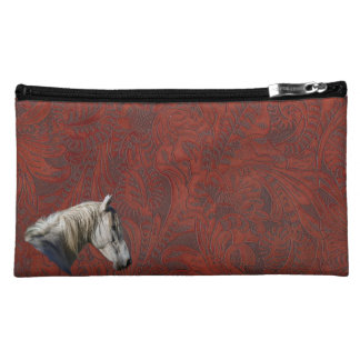 White Horse Logo Leather-look Equine Design Makeup Bag