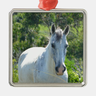 White horse. metal ornament