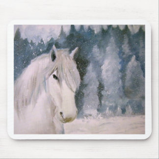 White Horse Mouse Pad