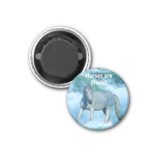 White Horse & Ocean Surf Equine Art Magnet
