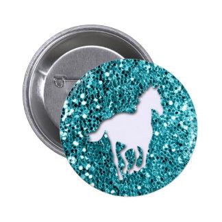 White Horse on Aqua Glitter Look 2 Inch Round Button