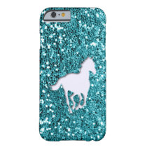 White Horse on Aqua Glitter Look Barely There iPhone 6 Case