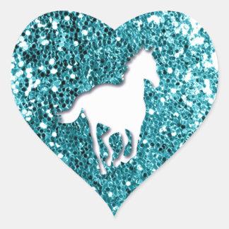 White Horse on Aqua Glitter Look Heart Sticker