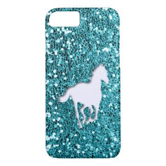 White Horse on Aqua Glitter Look iPhone 7 Case