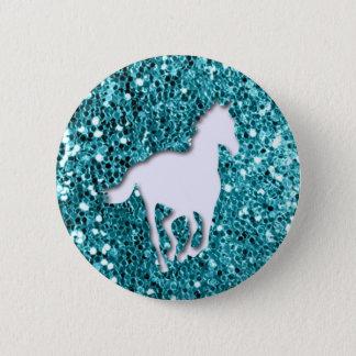 White Horse on Aqua Glitter Look Pinback Button