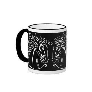 White Horse on Black Mug